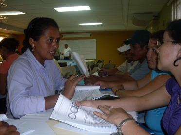 Red Nicaragüense de Comités de Agua Potable y Saneamiento (Nicaraguan Network of Potable Water and Sanitation Committees, or CAPS). Discussing draft by-laws needed for soliciting legal status as a national level CAPS association (February 2010, Managua, Nicaragua).
